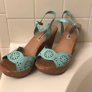 American Eagle Turquoise Cork Wedges